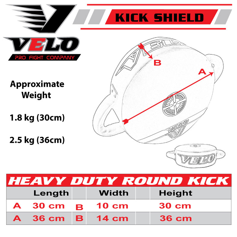 VELO Round Strike Kick Shield Pad Punch Bag Focus Boxing MMA Martial Training