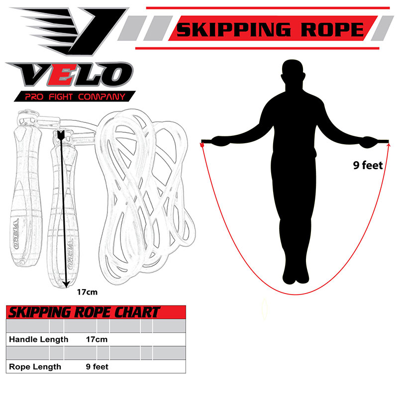 VELO Skipping Rope Genuine Leather Speed Fitness Workout Jumping Rope